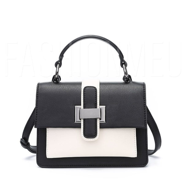 Color Block Patchwork PU Belt Square Tote Bags