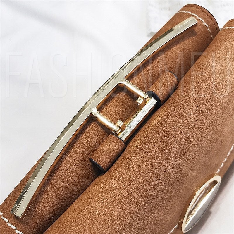 Thread Plain PU Envelope Chain Crossbody Bags