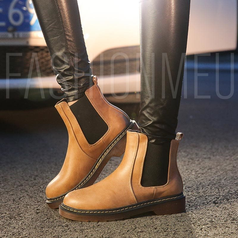 Fashion PU Flat Ankle Boots