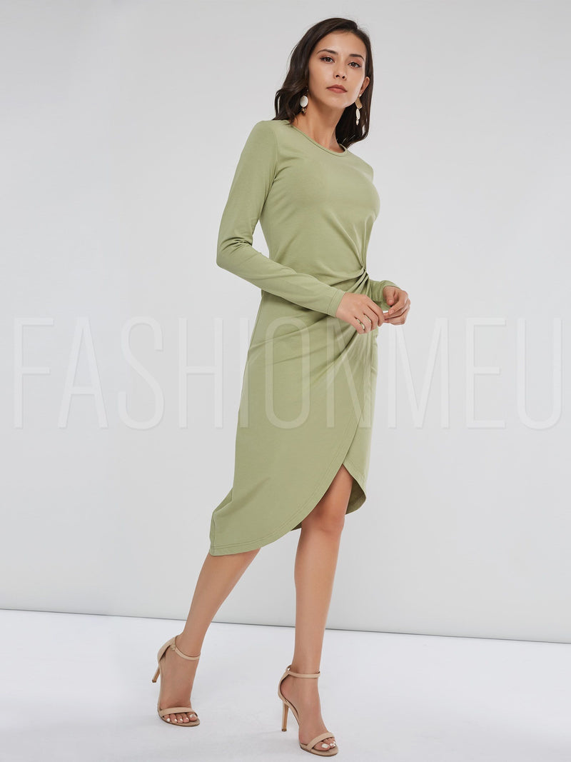 Asymmetric Plain Women's Long Sleeve Dress