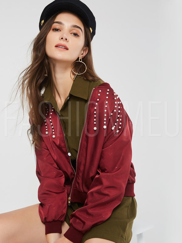 Beading Decorative Long Sleeve Loose Stand Collar Women's Jacket