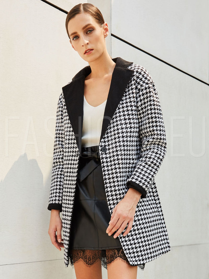 Houndstooth Lapel Loose One Button Women's Blazer Overcoat