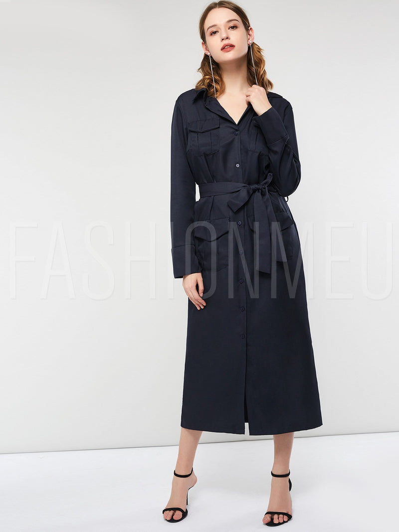 Long Sleeve Lapel Women's Maxi Dress