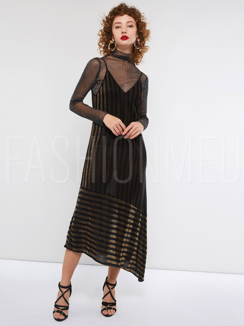 Long Sleeve Heap Collar Asymmetric Women's Maxi Dress