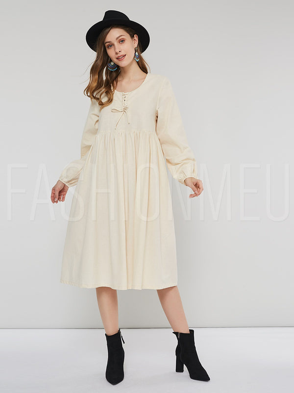 Round Neck Lace-Up Women's Long Sleeve Dress
