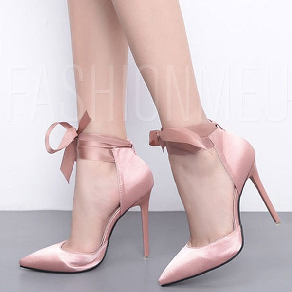 Lace-Up Stiletto Heel Casual Pointed Toe Elegant Women's Pumps