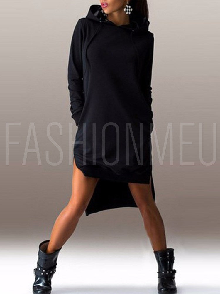 Fashion Long Sleeve Side Split Hoodie Dress