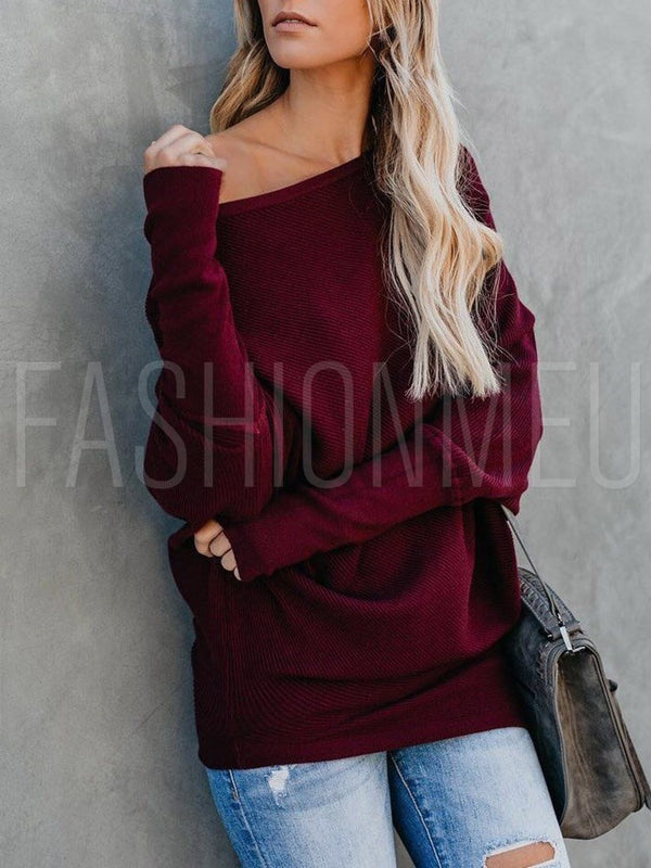 Slash Neck Solid Color Knitwear