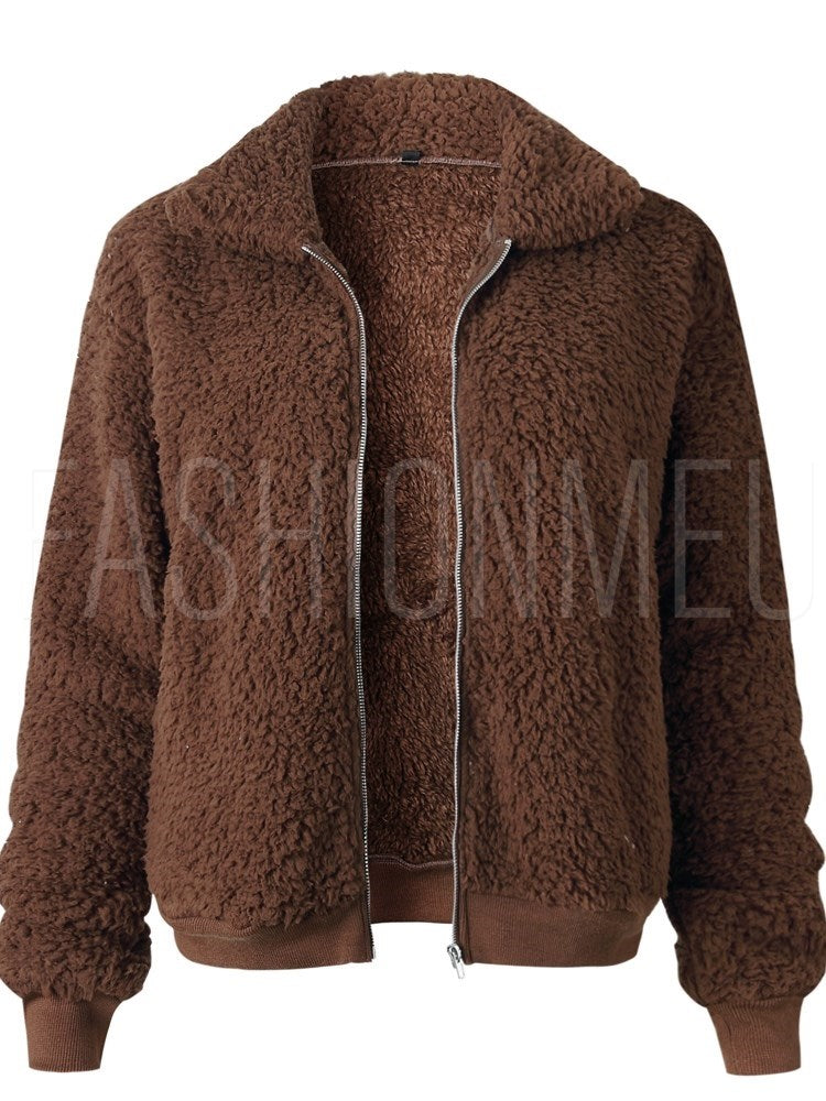 Teddy Fur Lapel Zipper Coat