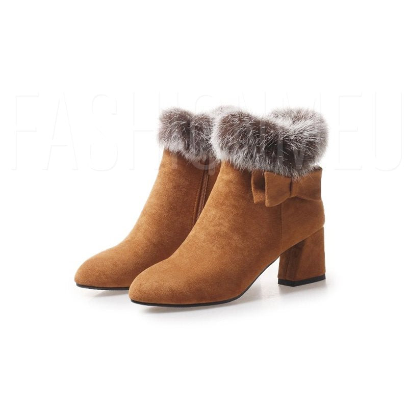 Purfle Chunky Heel Side Zipper Women's Boots