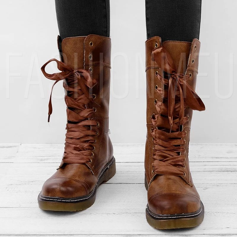 Rubber Nubuck Leather Lace-Up Front Mid-Calf Boots