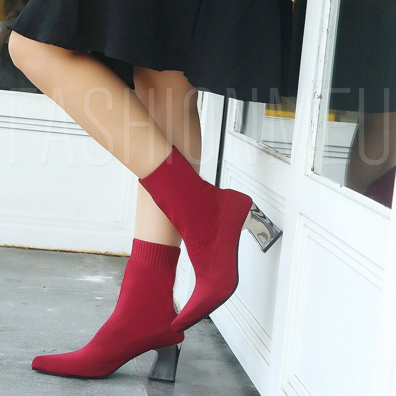 Pointed Toe Slip-On Plain Casual Boots