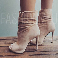 Trendy Suede Stiletto Heel Open Toe Ankle Boots