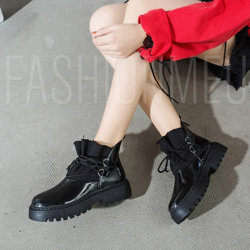 Block Heel Plain Round Toe Lace-up Platform Boots