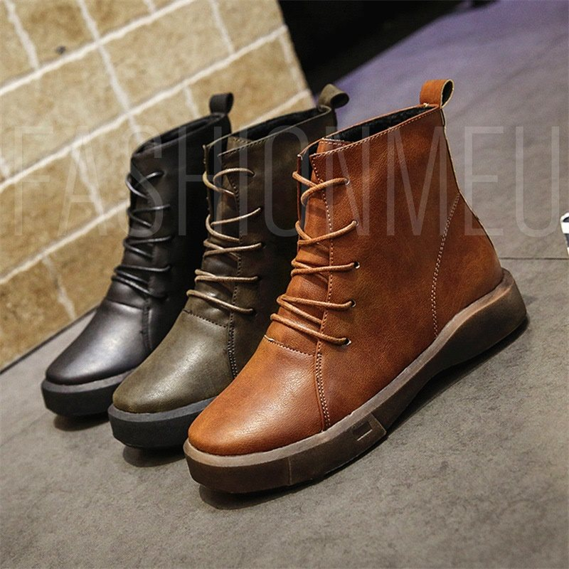 Plain Round Toe Lace-Up Front Martin Boots