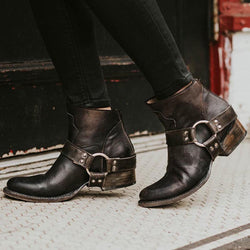Vintage Low Heel Ankle Boots