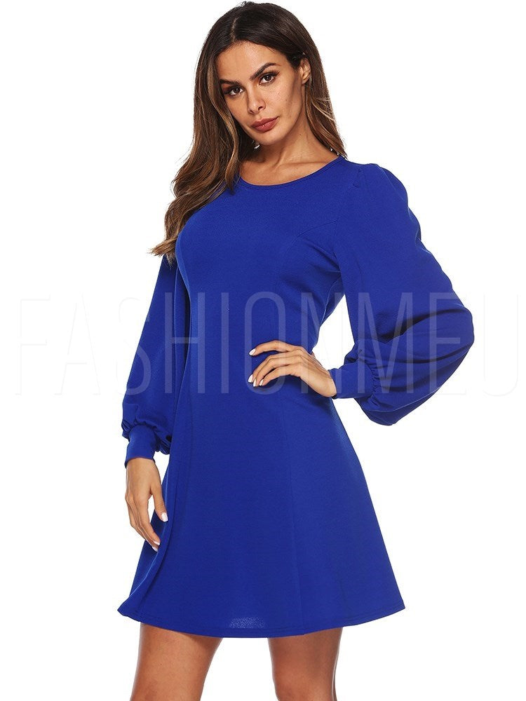 Round Neck A-Line Women's Long Sleeve Dress