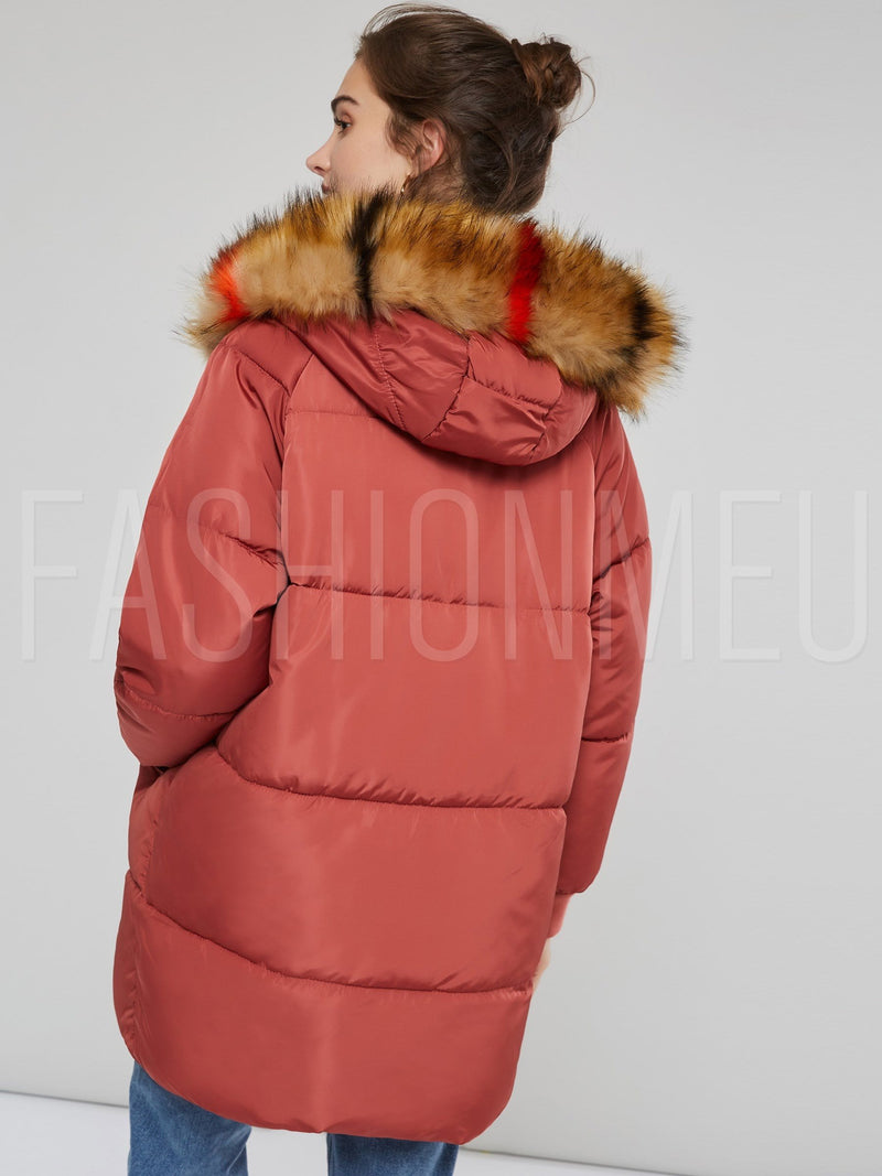 Thick Hooded Winter Women's Cotton Overcoat
