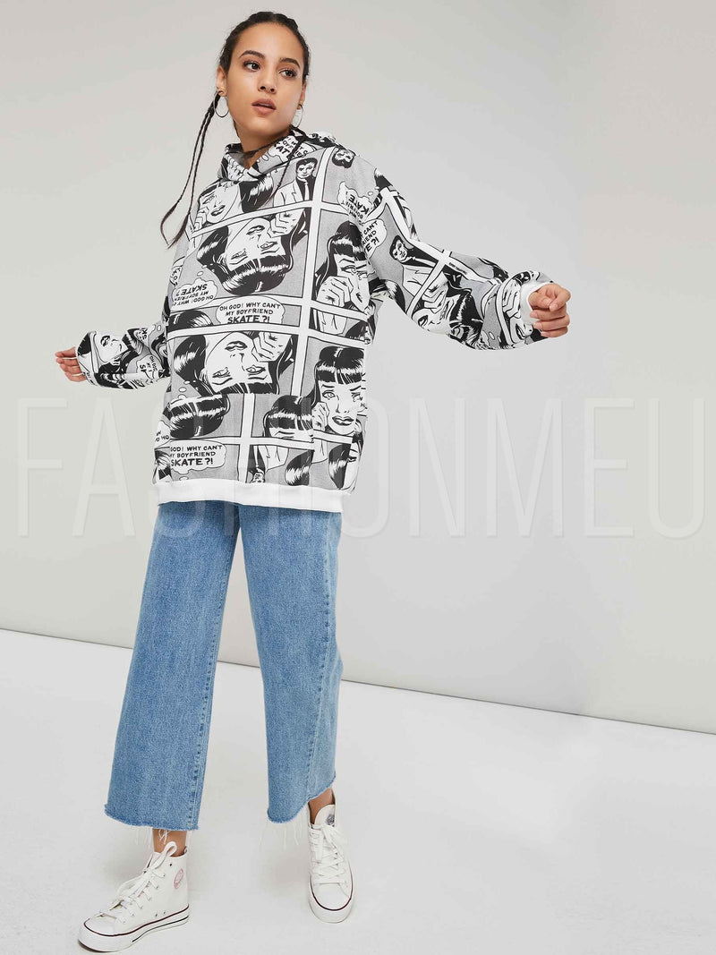 Cartoon Print Fleece Loose Fit Women's Hoodie