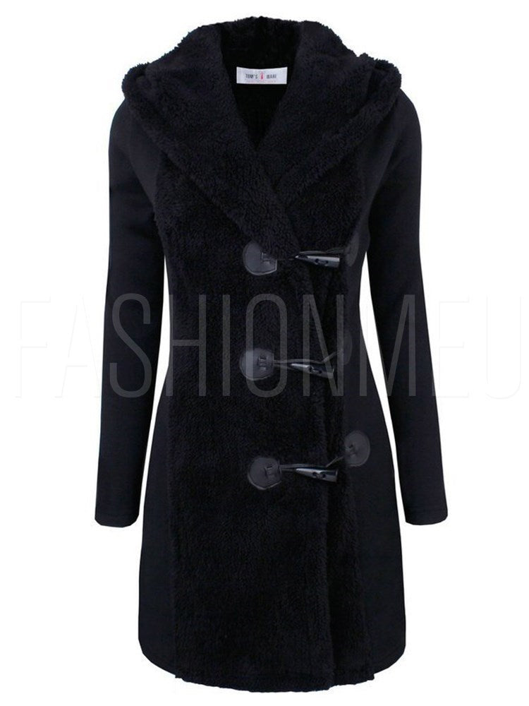 Warm Solid Color Lapel Teddy Bear Overcoat