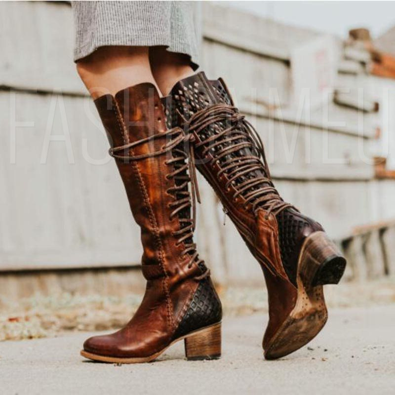 Fashion Side Zipper Chunky Heel Knee High Boots
