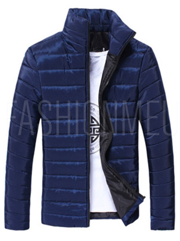 Slim Stand Collar Thick Plain	Men's Down Jacket