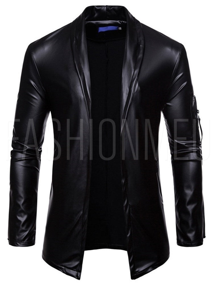 Solid Color Lapel Collar Long Sleeve Men's PU Jacket