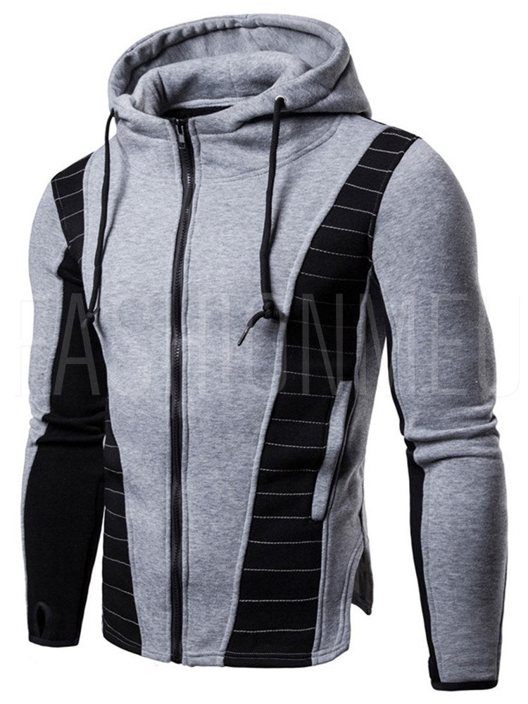 Patchwork Zipper Slim Hooded Mens Casual Hoodies