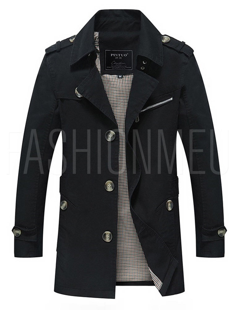 Men's Slim Fit Single Breasted Trench Coat