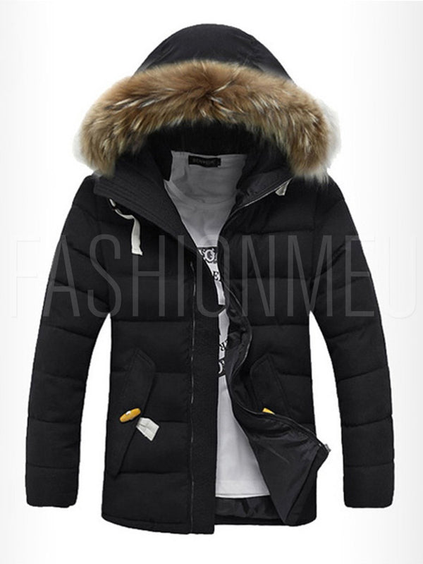 Faux Fur Hooded Midi Pattern Thicken Warm Men's Winter Coat