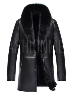 Faux Fur Collar Midi Pattern Warm Loose Men's Jacket