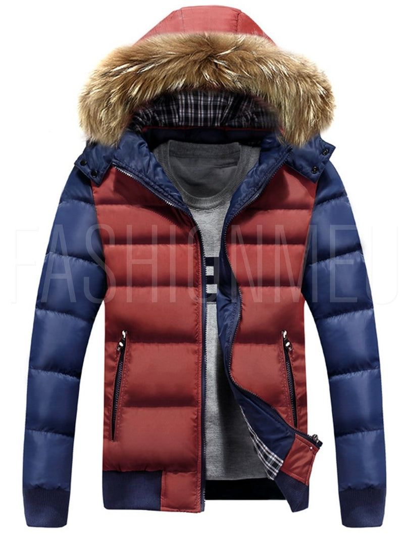 Faux Fur Hooded Patchwork Color Block Slim Men's Winter Coat