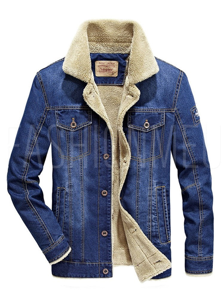 Teddy Fur Layer Denim Men's Jacket