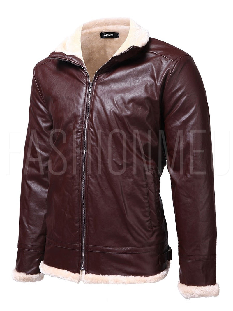 Men's Warm Jacket Thicken Flocking Zip PU