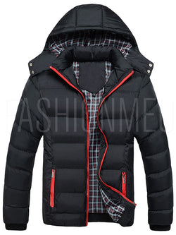 Hooded Solid Color Thicken Warm Casual Men's Down Coat