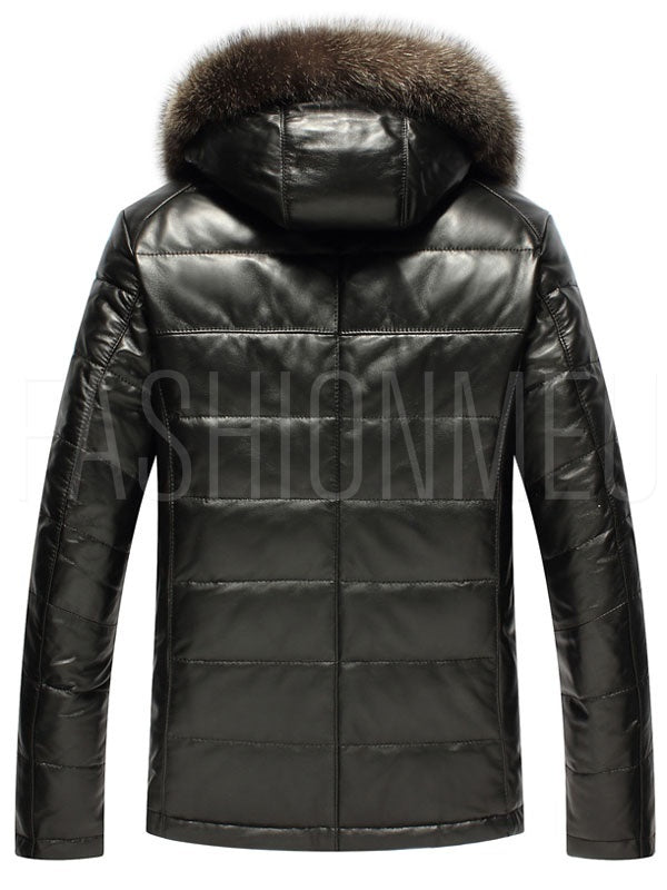 Hooded Faux Fur Collar PU Zip Men's Jacket