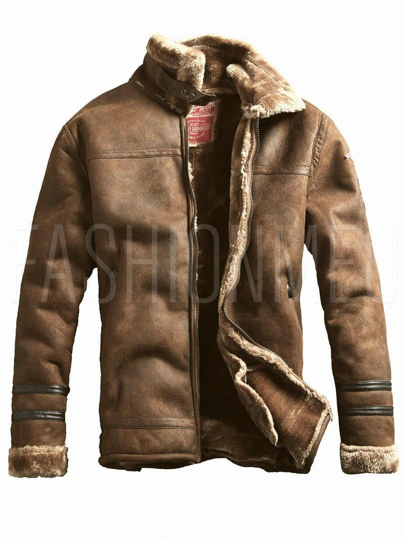 Lapel Plain Zipper Vintage Men's Thick Winter Coat Jacket