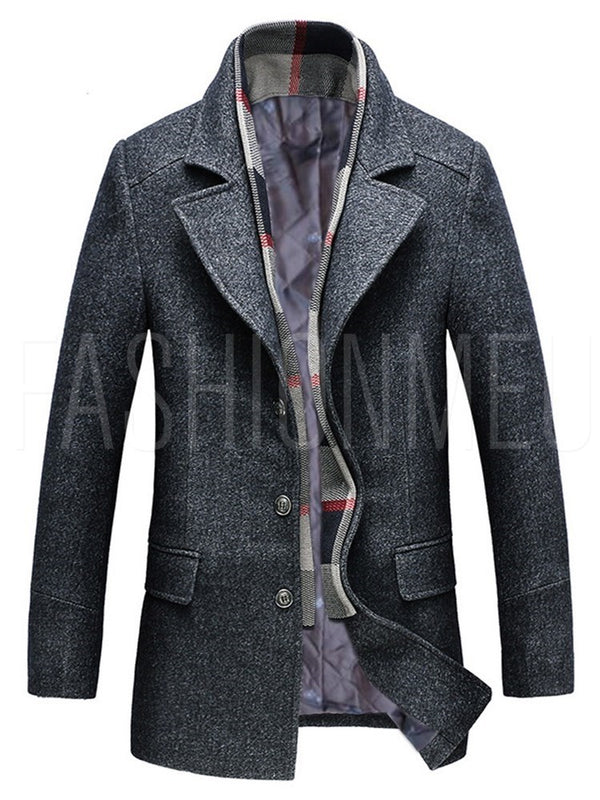 Lapel Collar Single-breasted Long Sleeve Men's Coats