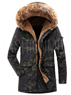 Patchwork Camouflage Thick Hooded Mens Casual Winter Jacket