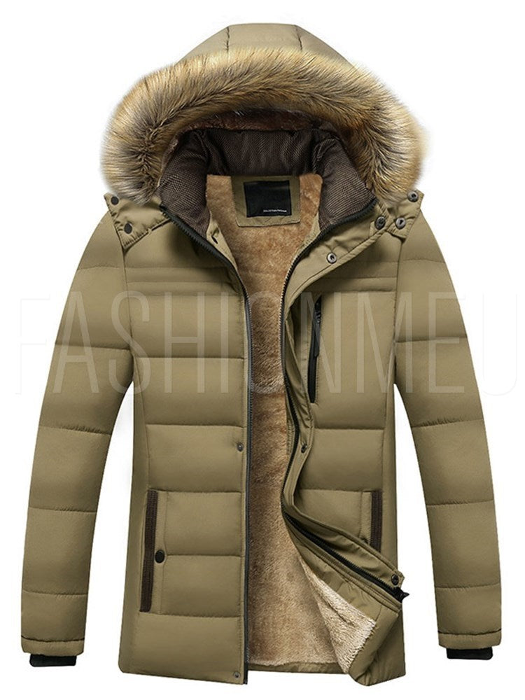 Faux Fur Collar Zip Thicken Warm Winter Style Men's Coat