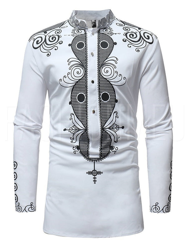 Print Long sleeve Stand Collar Men's Shirt