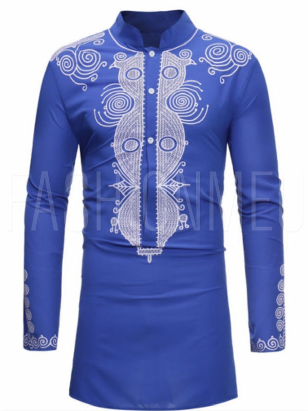 Dashiki Stand Collar Mid-Length Slim Men's Shirt