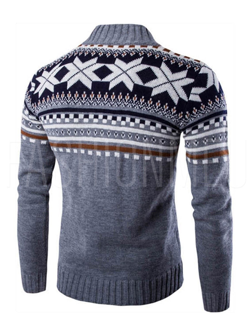 Single Breasted Printing Men's Sweater