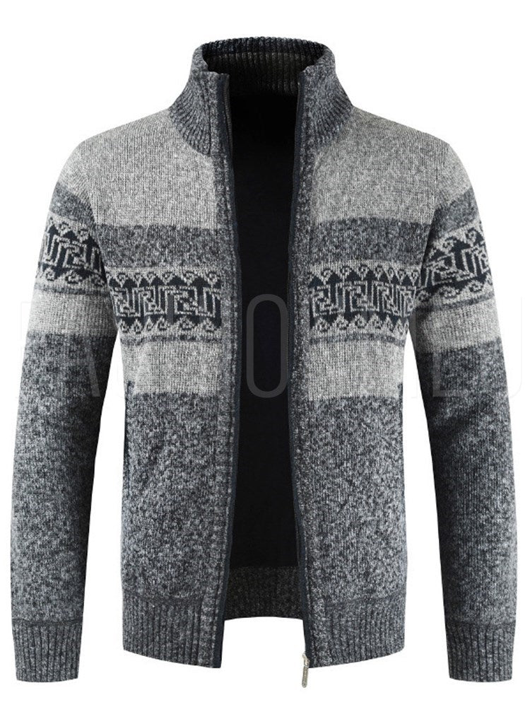 Casual Stand Collar Patchwork Zipper Men's Sweater