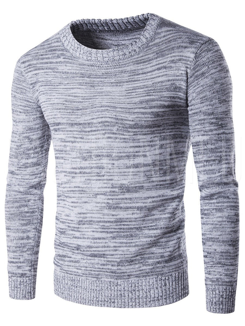 Cotton Blends Round Neck Long Sleeve Men's Sweater