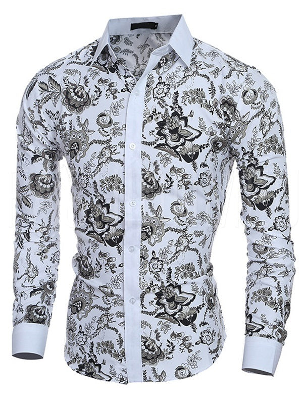 Stand Collar Printed Casual Men's Shirt