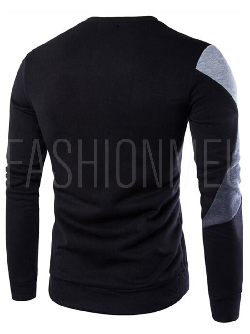 Patchwork Round Neck Cotton Blends Men's Casual Hoodie