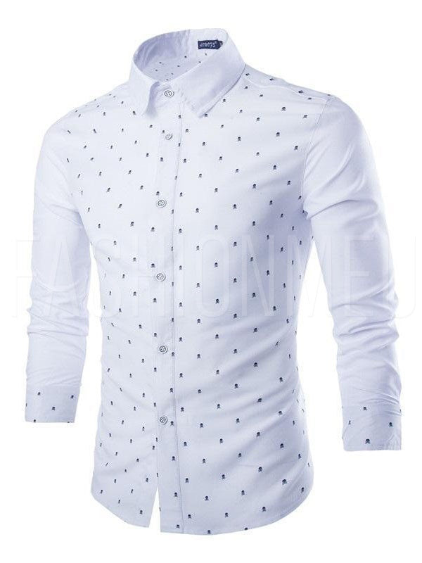 Patchwork Skull Print Slim Fit Men's Button Shirt