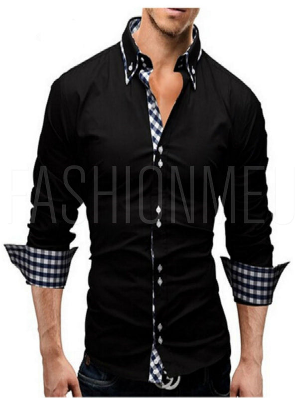 Patchwork Stand Collar Slim Men's Shirt