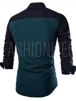 Patchwork Striped Long Sleeves Men's Shirt